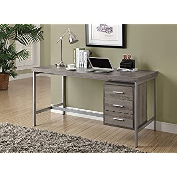 Monarch Reclaimed Look/Silver Metal Office Desk, 60 Inch, Dark Taupe