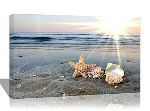 Purple Verbena Art 10x14 Modern Starfishes Shell with The Blue Sea Sunshine Beach Seascape Pictures Prints on Canvas Home Decor Walls Artwork Paintings, Giclle Stretched and Framed Wall Picture