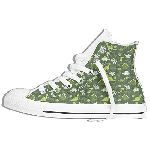 Classic High Top Sneakers Canvas Shoes Anti-Skid Dinos Pattern Casual Walking For Men Women White qlFn2lP