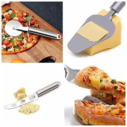 Pizza Cutter Wheel ,Cheese Knife , Cheese Slicer , Cake Server ,DAWILS 4-Piece Kitchen Knife Set Stainless Steel Cheese Cutter Slicer with Multi-Use Cheese Fruit Veggie Knife