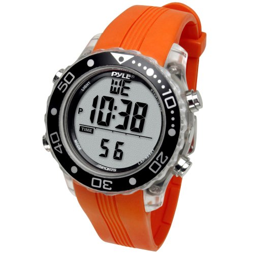 - Digital Multifunction Sports Wrist Watch - Waterproof Smart Fit Classic Men Women Water Sport Swimming Fitness Gear Tracker w/ Chronograph, Countdown, Dual Time, Diving Mode - Pyle PSNKW30O (Orange)