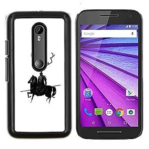 """Be-Star Único Patrón Plástico Duro Fundas Cover Cubre Hard Case Cover Para Motorola Moto G (3rd gen) / G3 ( Caballo Negro Caballero Guerrero Lanza Robot Arte Cuernos"""" )"""