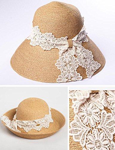 Sombreros Protector Fresco Plegable Sol Gorra Seco Verano Borde Paja Cordón Playa Y Ala Femenino Del Grande Huo Solar PrZqwSP
