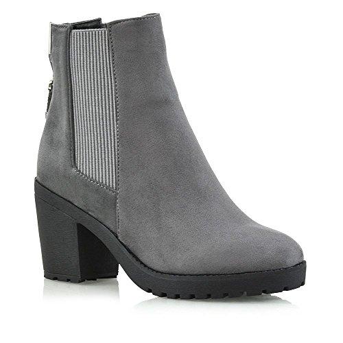 ESSEX GLAM Womens Chelsea Boots Elastic Gusset Zip Ladies Platform Block Heel Ankle Shoes Grey Faux Suede