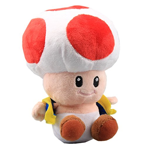 uiuoutoy Super Mario Bros. Red Toad Plush Mushroom -