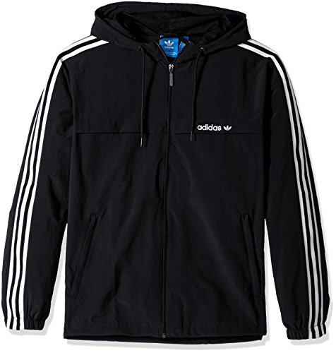 adidas Originals Men's Outerwear | 3 Stripe Windbreaker, Black, X-Large
