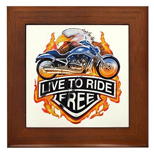Framed Tile Live To Ride Free Eagle Motorcycle