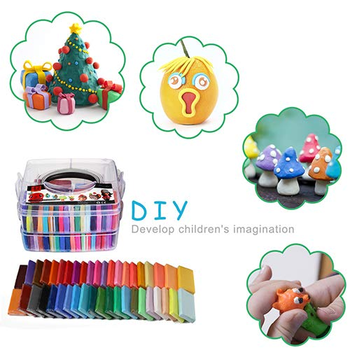 Polymer Clay Set - 42 Colors Modeling Fimo Clay Soft and Nontoxic DIY Oven Bake Clay Kit with Modeling Tools and Storage Box, Birthday for Kids (Multicolor)