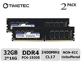 Timetec Hynix IC 32GB Kit (2x16GB) DDR4 2400 MHz PC4-19200 Non-ECC Unbuffered 1.2V CL16 2Rx8 Dual Rank 288 Pin UDIMM Desktop PC Computer Memory Ram Module Upgrade (32GB Kit (2x16GB))