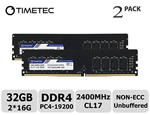 - Timetec Hynix IC 32GB Kit (2x16GB) DDR4 2400 MHz PC4-19200 Non-ECC Unbuffered 1.2V CL16 2Rx8 Dual Rank 288 Pin UDIMM Desktop PC Computer Memory Ram Module Upgrade (32GB Kit (2x16GB))