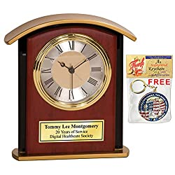Desk Table Personalized Engrave Wood Desk Archway Clock Gold Base with Gold Engaving Plate. Employee Recognition Wedding Service Award Retirement Gift Executive Anniversary