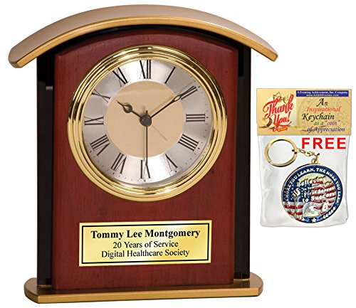 Mahogany Award Base - Desk Table Personalized Engrave Wood Desk Archway Clock Gold Base with Gold Engaving Plate. Employee Recognition Wedding Service Award Retirement Gift Executive Anniversary