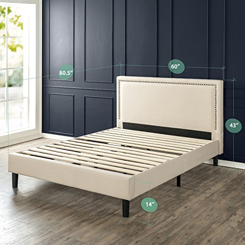 Zinus Deluxe Upholstered Nailhead Trim Platform Bed with Wood Slat Support, Queen