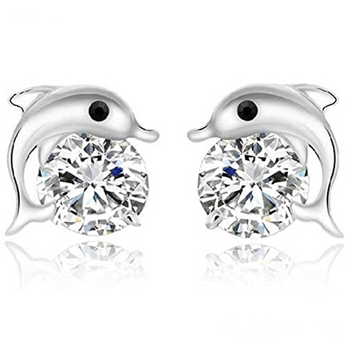- KeyZone Lady Lovely Dolphin Crystal Rhinestone Zircon Stud Earrings Jewelry