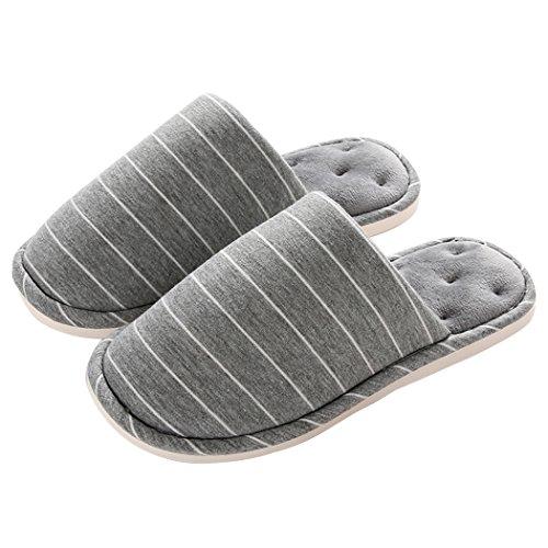 Miyang Womens Fluff Sheepskin Fleece House Luxe Slipper Stripe-grey