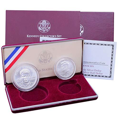 (1998 S Robert F Kennedy Commemorative 90% Silver Dollar & Matte Kennedy Half Dollar US Mint Brilliant Uncirculated)