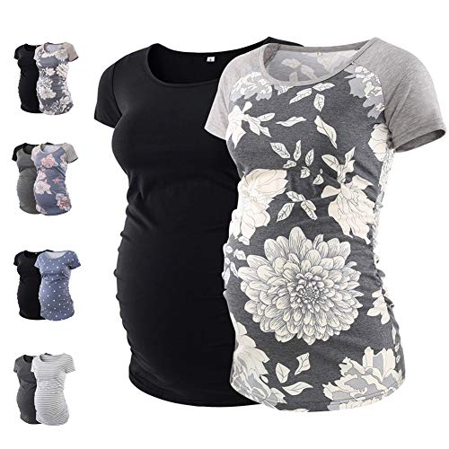 MAXIUSS Womens Mama Clothes Maternity Shirts Pregnancy Clothes Maternity Workout Tunic Tops T ()