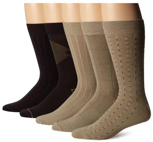 Dockers Men's 5 Pack Classics Dress Dashed Crew Socks, Khaki, Sock Size:10-13/Shoe Size: 6-12 (Socks Dress Tan)