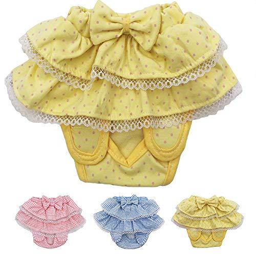 FunnyDogClothes Dog Skirt Diaper Female Sanitary Pant Dress Ruffles Cotton Small Pet Cat (Yellow, Small: Waist 6 - 8)