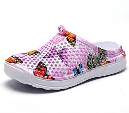 DANDANJIE Womens Garden Zuecos Lightweigth verano sandalias zapatillas zapatos de agua tacón plano para al aire libre Rosado