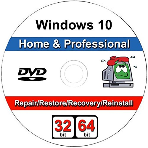 Windows 10 - 32/64 Bit DVD SP1, Professional & Home Edition. Recover, Repair, Restore or Re-install Windows to Factory Fresh!