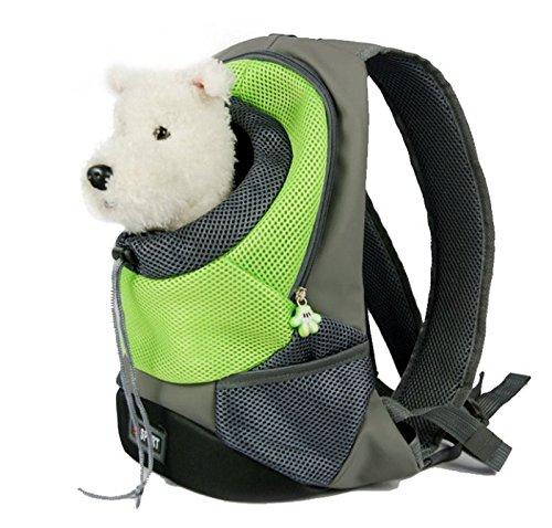 Pet Carrier, Breathable Double Shoulder Dog Pet Puppy Bags Backpack Knapsack Rucksack Cat Carrier Packsack Travelling Pet Holder Bag for Biking, Hiking, Trip, Shopping (Medium, Green)