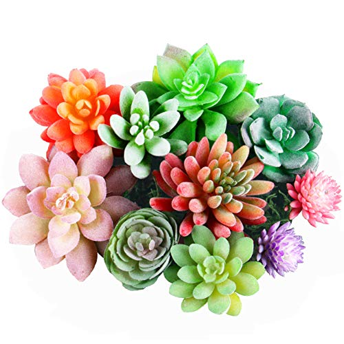 Dandevo 10 Pcs Unpotted Fake Succulent Plants Assorted Colorful Artificial Succulents Picks in Bulk Plastic Faux Silk Stems for Bouquet Centerpiece Floral Arrangements Home Decor Large and Mini