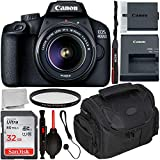 Canon EOS 4000D DSLR Camera with 18-55mm III Lens & Starter Accessory Bundle - Includes: SanDisk Ultra 32GB SDHC Memory Card + Camera Carrying Case + Ultraviolet Filter + Lens Cap Keeper + More