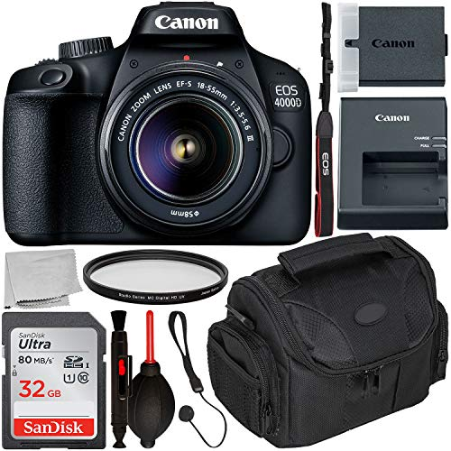 Canon EOS 4000D DSLR Camera with 18-55mm III Lens & Starter Accessory Bundle – Includes: SanDisk Ultra 32GB SDHC Memory Card + Camera Carrying Case + Ultraviolet Filter + Lens Cap Keeper + More