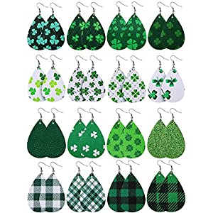 16 Pairs Shamrock Dangle Earring