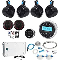 Rockville Marine Bluetooth Receiver+(4) 8 Wakeboards+(2) LED Speakers+6-Ch Amp
