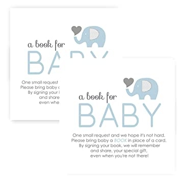 Amazon Com Elephant Bring A Book For Baby Shower Invitation Insert