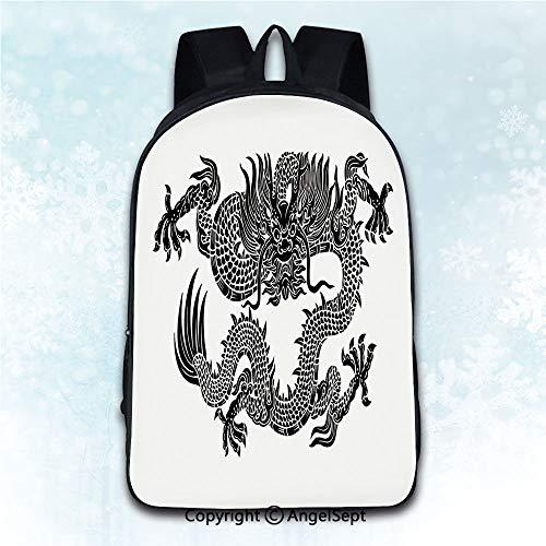 Red Dragon Shoulder Puppet - Multi-Function Stylish Knapsack,Japanese Dragon Legendary Ancient Fantasy Figure Art Symbolic Character Monochrome Design Black White 16 inches,Anti-Theft Rucksack Double Shoulder Bag