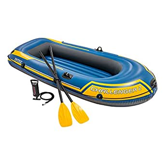 Intex Challenger 2 2 Person Inflatable Boat Set With French Oars And High Output Air Pump Latest Model