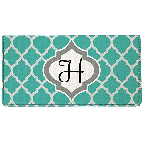 - Snaptotes Personalized Monogram Teal Moroccan Checkbook Cover