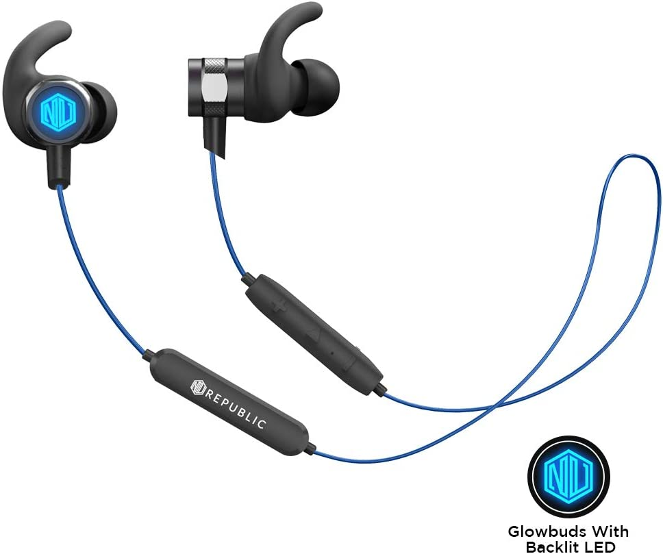 Nu Republic Rouser Wireless Earphones with LED Light, 10mm Drivers, IPX5 Sweat and Water Resistant, Deep Bass, in-Line Control with Mic- Blue