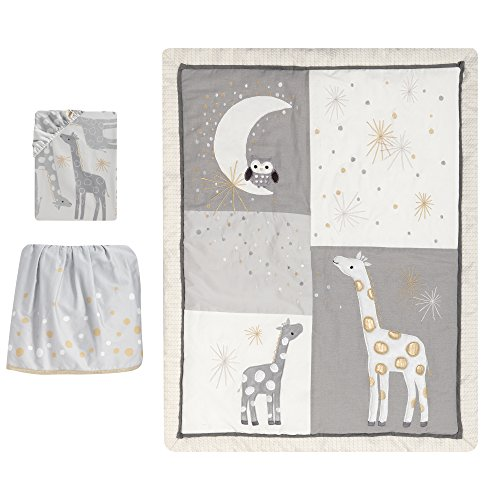 Lambs & Ivy Signature Moonbeams Giraffe Stars 3 Piece Crib Bedding Set, - Ivy Star