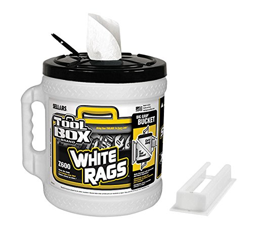 Wipers Box White (Sellars Wipers & Sorbents 60320 TOOLBOX Z600 Big Grip Bucket, White Rags (Pack of 2))