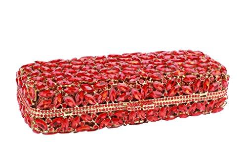 Yilongsheng femmes Glitter cristaux Embrayage Sacs avec des feuilles en forme épars (Rouge)