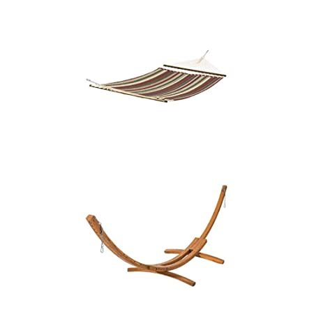 Classic Accessories Montlake FadeSafe Quilted Double Hammock, Heather Henna Multi-Stripe with Classic Accessories Montlake Heavy Duty Hardwood Hammock Stand
