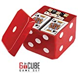 Gamie 6-IN-1 Dice Cube Game Set - by Board Games and Casino Set – Includes Chess, Checkers & Backgammon, 2 Decks of Playing Cards, Poker Chips, Poker Dice & Dominoes - Complete Kit for Family Fun