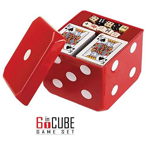 be Game Set Board Games and Casino Set – Includes Chess, Checkers & Backgammon, 2 Decks of Playing Cards, Poker Chips, Poker Dice & Dominoes - Complete Kit for Family Fun ()