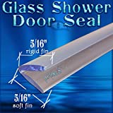 DS105 Frameless Glass Shower Door Seal, Wipe, Sweep - 98'' (2.49 Meter) Length - Seals 3/16 to 1/4'' Gaps - Spend $50 or more of pfokus products Get FREE SHIPPING