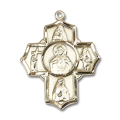 14kt Yellow Gold Scapular 4-Way Medal 1 1/4 X 1 inches by Bonyak Jewelry Saint Medal Collection