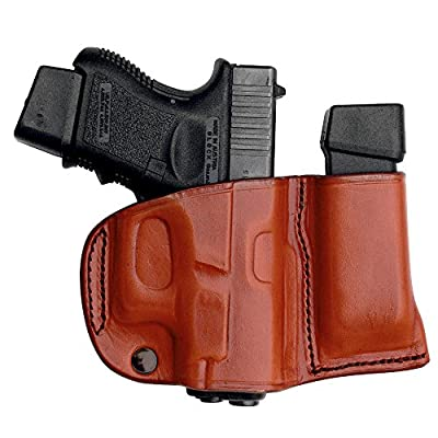 Tagua BSHM-062 Ruger LC9-Keltec PF9 Belt Slide Holster with Magazine Carrier, Brown, Right Hand