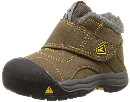 (KEEN Kids' Kootenay Waterproof-T Lace-up Boot, Dark Earth/Spectra Yellow, 4 M US Toddler)