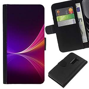 LECELL--Cuero de la tarjeta la carpeta del tirón Smartphone Slots Protección Holder For LG G2 D800 -- NEON PURPLE SPLASH --