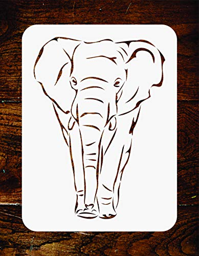 - African Elephant Stencil - 6.5 x 9 inch - Reusable African Animal Wildlife Wall Stencils Template - Use on Paper Projects Scrapbook Journal Walls Floors Fabric Furniture Glass Wood etc.