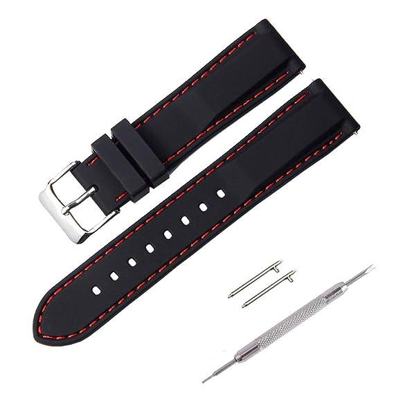 Correa Reloj, Fmway Repuesto de Correa Reloj de Silicona para Hombre y Mujer, 18mm, 20mm, 22mm, 24mm Silicona Correa Reloj con Hebilla de Acero ...