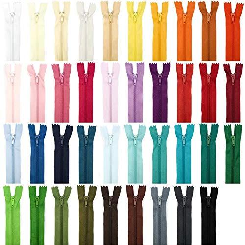 25 cm de largo, varios colores Jajasio Lote de 39 cremalleras